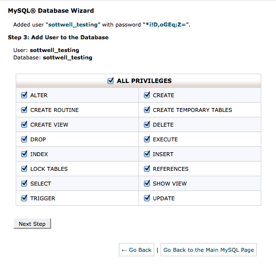 Assigning Privileges to the User In CPanel