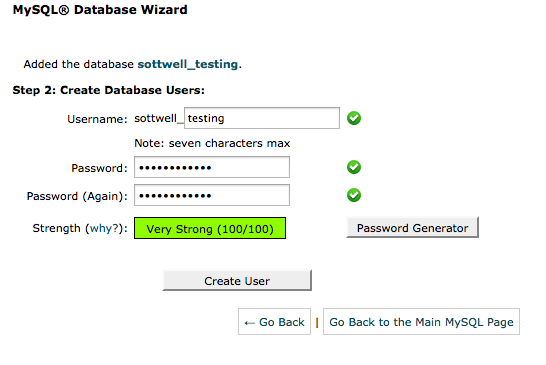 Creating the Database User in CPanel